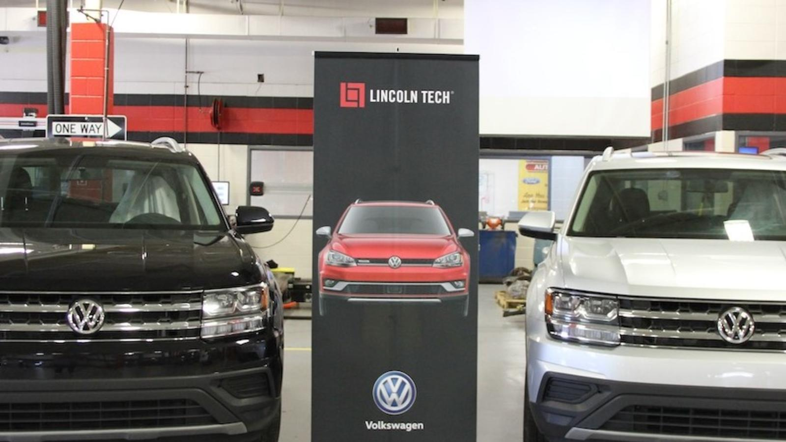 Two 2020 VW Atlas SUVs. Students in Lincoln Tech's Mahwah NJ automotive training program with VW specialty