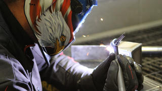 Up close view of a Denver welding student using an ARC welder.