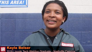Nashville Graduate Kayla Belser discusses her Welding Career and the training she received at Lincoln Tech.