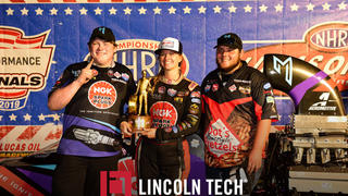 Lincoln Tech studenst John Lipscomb and Beau Fleming Flank Megan Meyer of Randy Meyer Racing at the US Nationals.