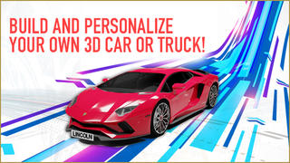 Choose a Cool Car, Paint the Color of Your Choice, and Customize your License Plate - Then View Your Car in 3D and Download!